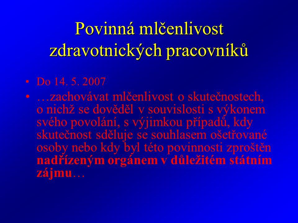 Povinná mlčenlivost zdravotnických pracovníků Do 14. 5. 2007 …zachovávat mlčenlivost o skutečnostech, o nichž se dověděl v souvislosti s výkonem svého