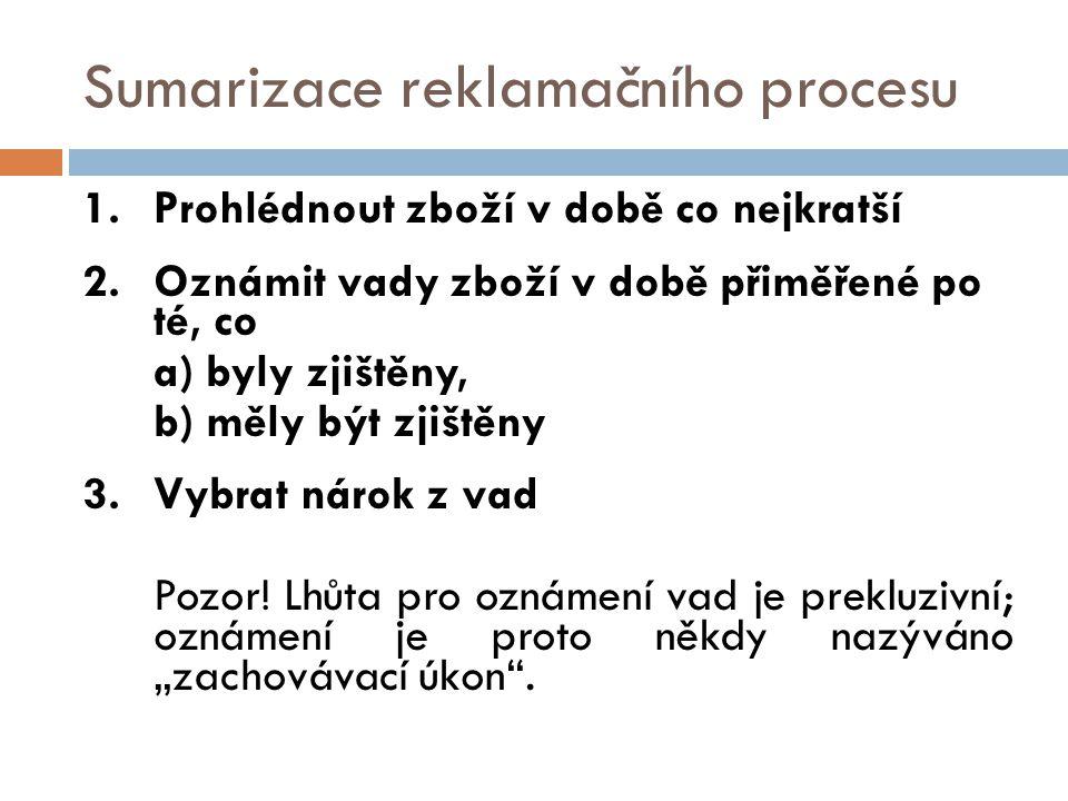 Sumarizace reklamačního procesu 1.Prohlédnout zboží v době co nejkratší 2.Oznámit vady zboží v době přiměřené po té, co a) byly zjištěny, b) měly být zjištěny 3.Vybrat nárok z vad Pozor.