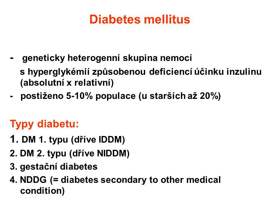 Diabetes mellitus - geneticky heterogenní skupina nemocí s hyperglykémií způsobenou deficiencí účinku inzulinu (absolutní x relativní) - postiženo 5-1