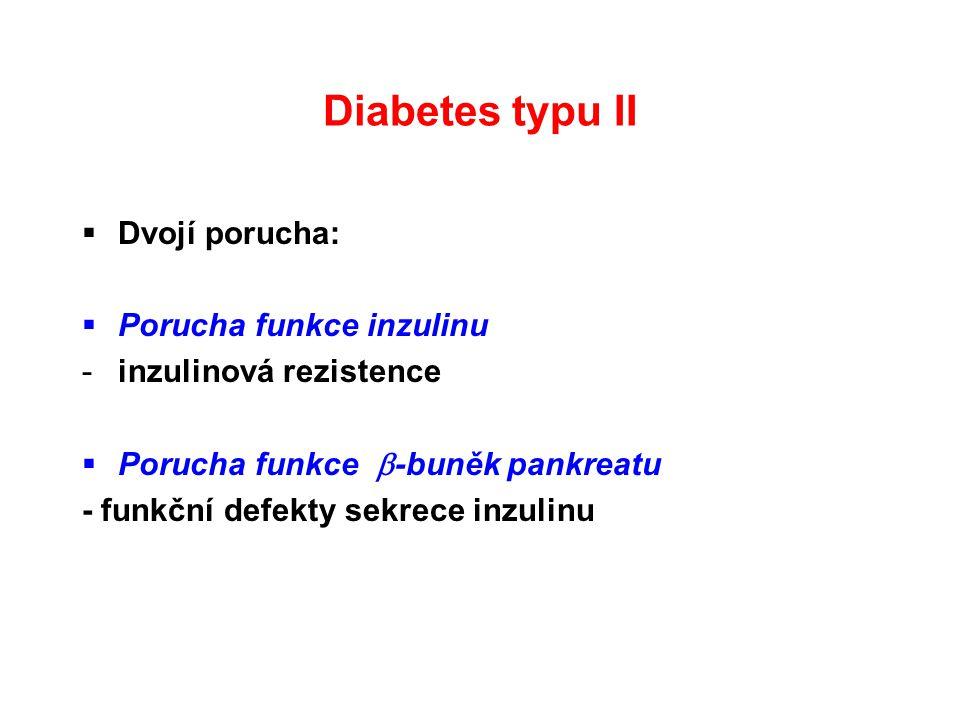 Diabetes typu II  Dvojí porucha:  Porucha funkce inzulinu -inzulinová rezistence  Porucha funkce  -buněk pankreatu - funkční defekty sekrece inzul