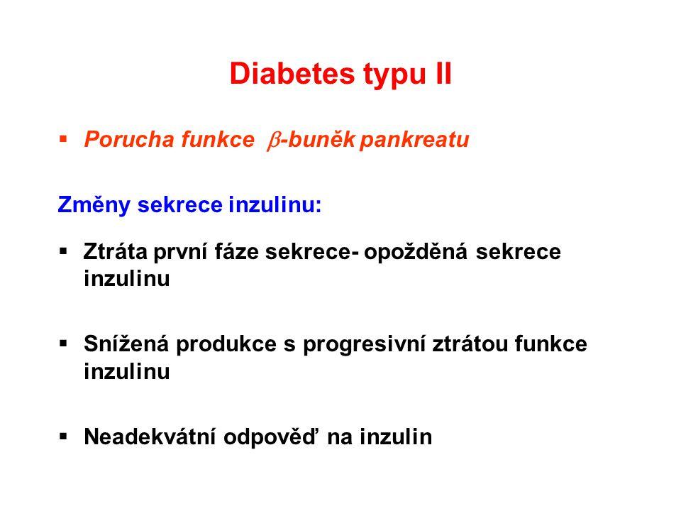 Diabetes typu II  Porucha funkce  -buněk pankreatu Změny sekrece inzulinu:  Ztráta první fáze sekrece- opožděná sekrece inzulinu  Snížená produkce
