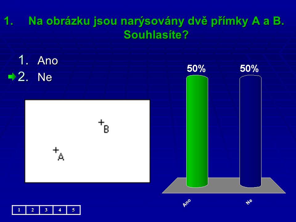 1.Na obrázku jsou narýsovány dvě přímky A a B. Souhlasíte 12345 1. Ano 2. Ne