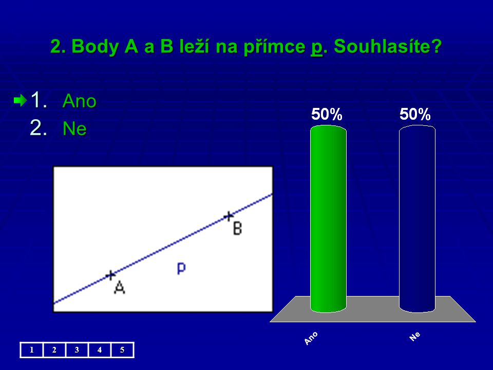 2. Body A a B leží na přímce p. Souhlasíte 1. Ano 2. Ne 12345