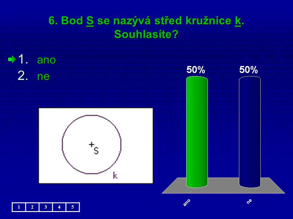 6. Bod S se nazývá střed kružnice k. Souhlasíte 1. ano 2. ne 12345