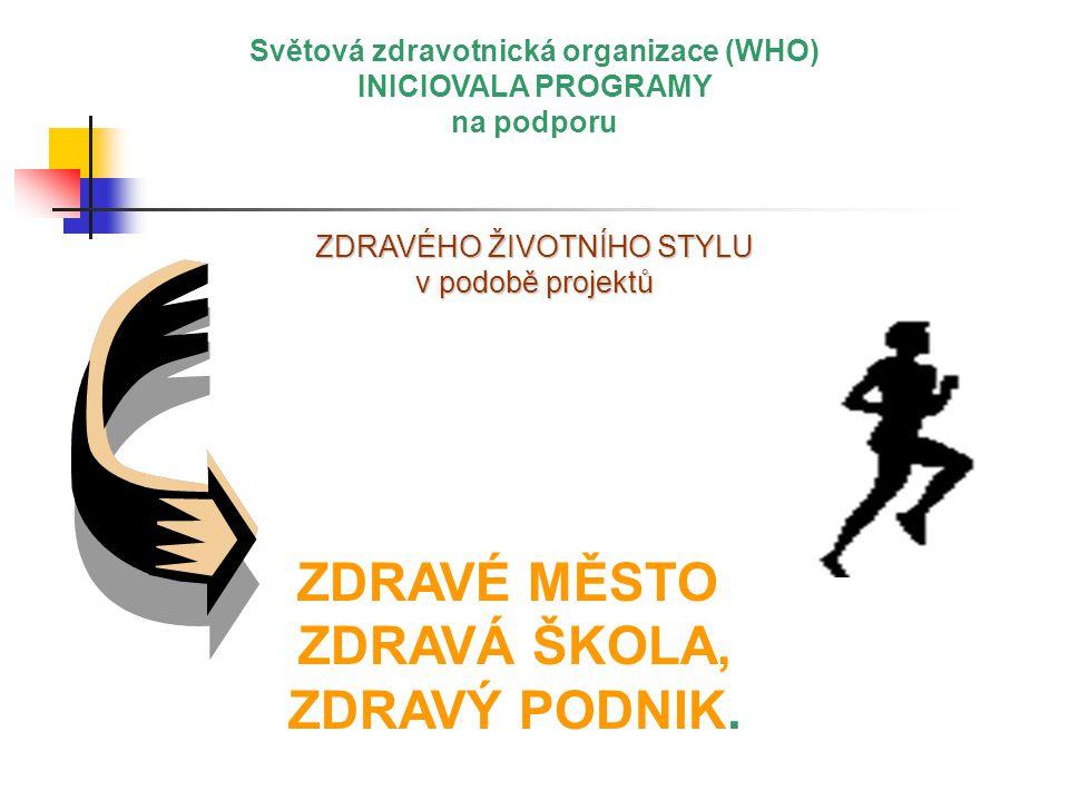 Světová zdravotnická organizace (WHO) INICIOVALA PROGRAMY na podporu ZDRAVÉHO ŽIVOTNÍHO STYLU v podobě projektů ZDRAVÉ MĚSTO ZDRAVÁ ŠKOLA, ZDRAVÝ PODNIK.,