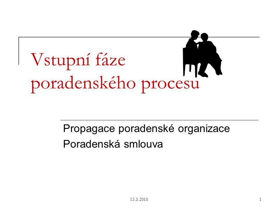 15.3.20101 Vstupní fáze poradenského procesu Propagace poradenské organizace Poradenská smlouva