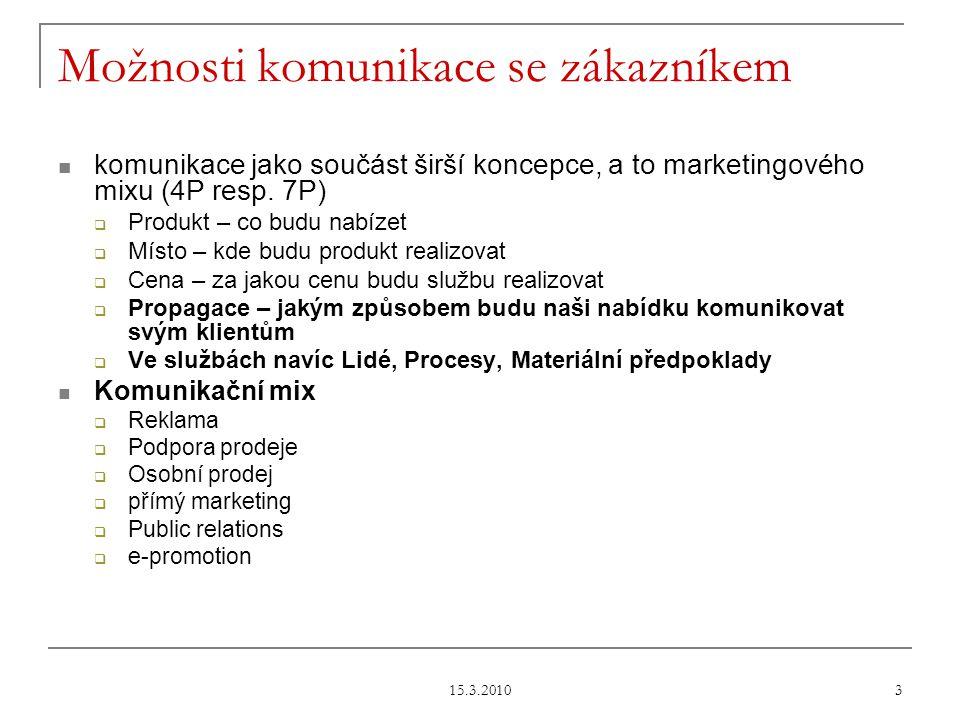 15.3.2010 3 Možnosti komunikace se zákazníkem komunikace jako součást širší koncepce, a to marketingového mixu (4P resp.