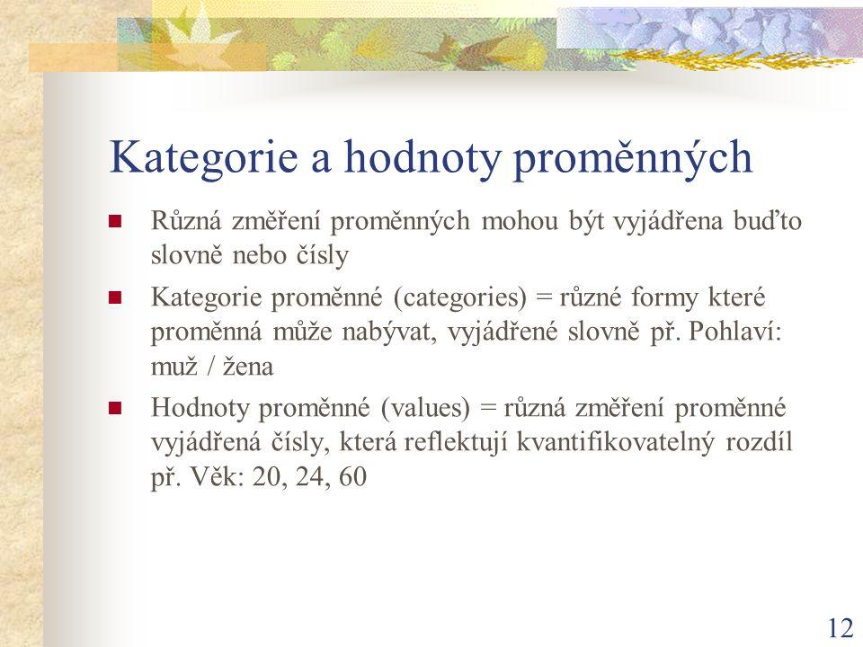 12 Kategorie a hodnoty proměnných Různá změření proměnných mohou být vyjádřena buďto slovně nebo čísly Kategorie proměnné (categories) = různé formy k