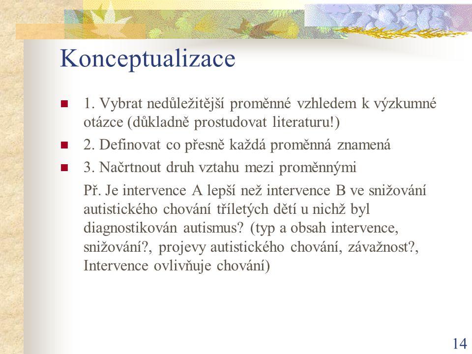 14 Konceptualizace 1. Vybrat nedůležitější proměnné vzhledem k výzkumné otázce (důkladně prostudovat literaturu!) 2. Definovat co přesně každá proměnn