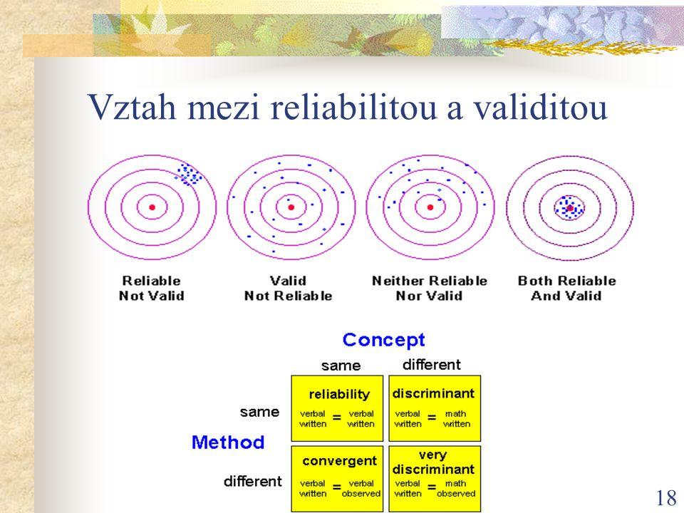 18 Vztah mezi reliabilitou a validitou