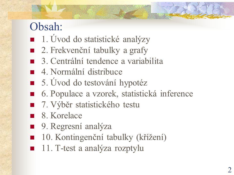 2 Obsah: 1. Úvod do statistické analýzy 2. Frekvenční tabulky a grafy 3. Centrální tendence a variabilita 4. Normální distribuce 5. Úvod do testování