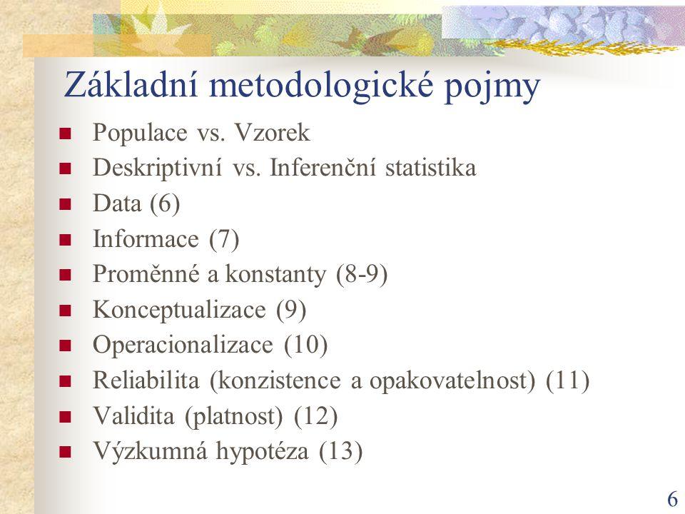 6 Základní metodologické pojmy Populace vs. Vzorek Deskriptivní vs. Inferenční statistika Data (6) Informace (7) Proměnné a konstanty (8-9) Konceptual