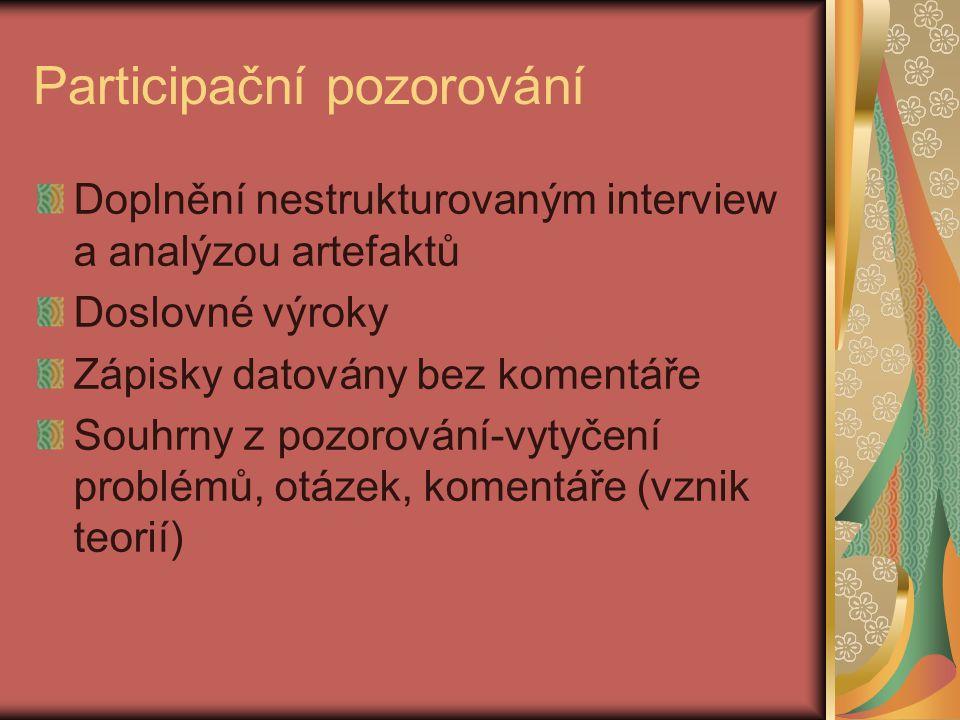Participační pozorování Doplnění nestrukturovaným interview a analýzou artefaktů Doslovné výroky Zápisky datovány bez komentáře Souhrny z pozorování-v