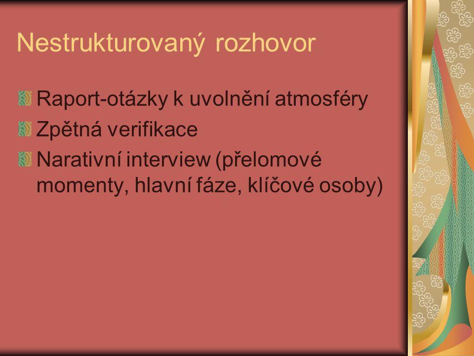 Nestrukturovaný rozhovor Raport-otázky k uvolnění atmosféry Zpětná verifikace Narativní interview (přelomové momenty, hlavní fáze, klíčové osoby)