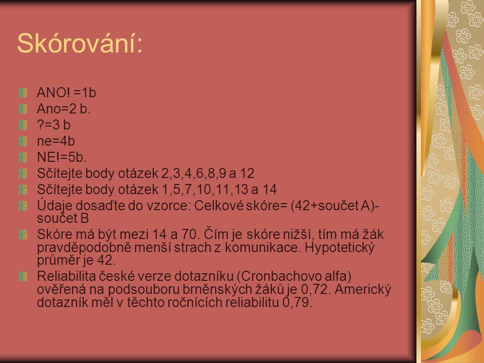 Skórování: ANO! =1b Ano=2 b. ?=3 b ne=4b NE!=5b. Sčítejte body otázek 2,3,4,6,8,9 a 12 Sčítejte body otázek 1,5,7,10,11,13 a 14 Údaje dosaďte do vzorc