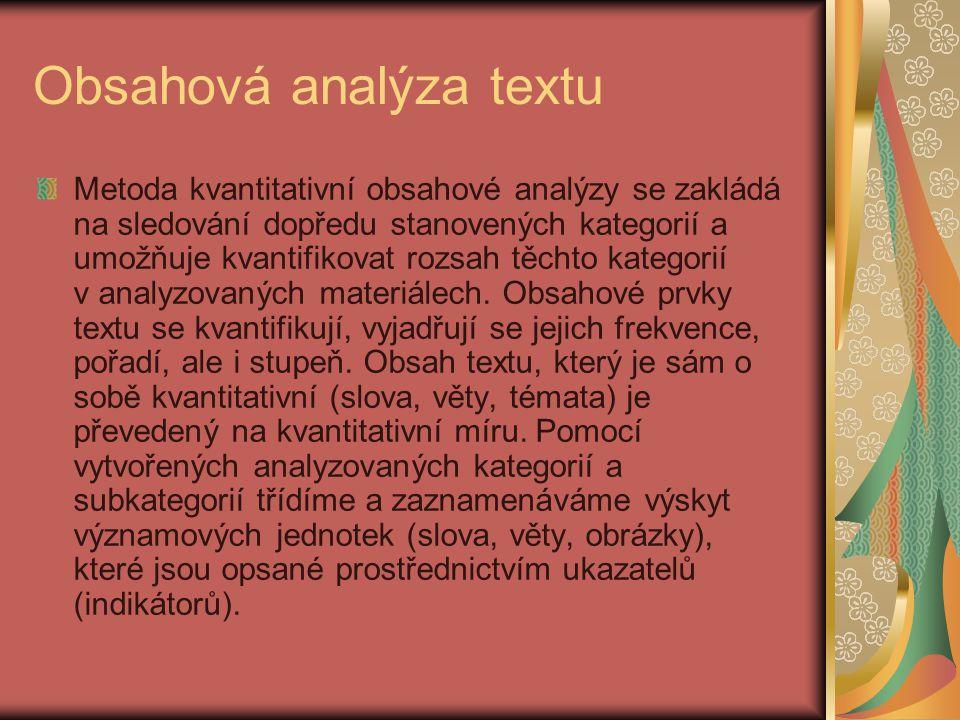 Obsahová analýza textu Metoda kvantitativní obsahové analýzy se zakládá na sledování dopředu stanovených kategorií a umožňuje kvantifikovat rozsah těc