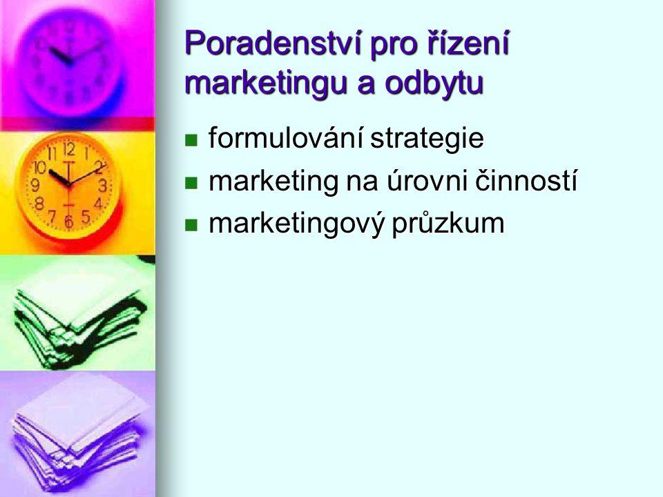 Poradenství pro řízení marketingu a odbytu formulování strategie formulování strategie marketing na úrovni činností marketing na úrovni činností marke