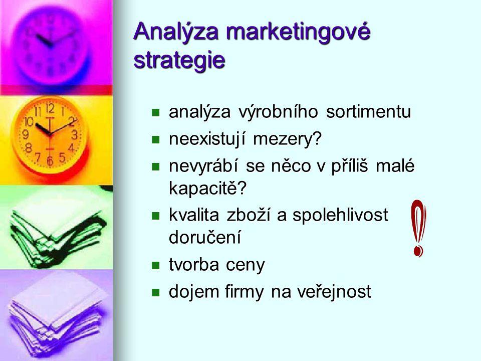 Analýza marketingové strategie analýza výrobního sortimentu analýza výrobního sortimentu neexistují mezery? neexistují mezery? nevyrábí se něco v příl
