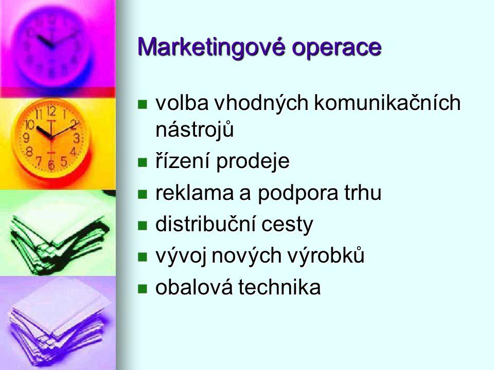 Marketingové operace volba vhodných komunikačních nástrojů volba vhodných komunikačních nástrojů řízení prodeje řízení prodeje reklama a podpora trhu