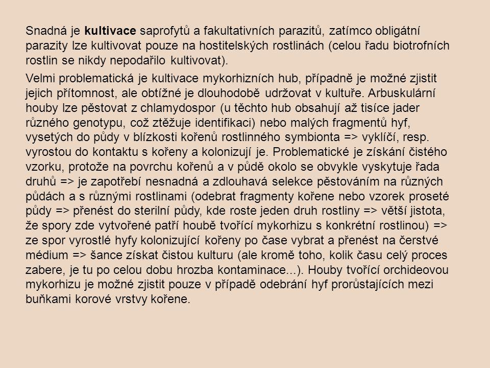 Snadná je kultivace saprofytů a fakultativních parazitů, zatímco obligátní parazity lze kultivovat pouze na hostitelských rostlinách (celou řadu biotr