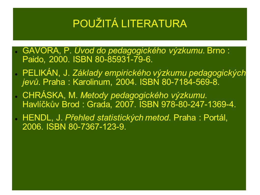 POUŽITÁ LITERATURA GAVORA, P. Úvod do pedagogického výzkumu.
