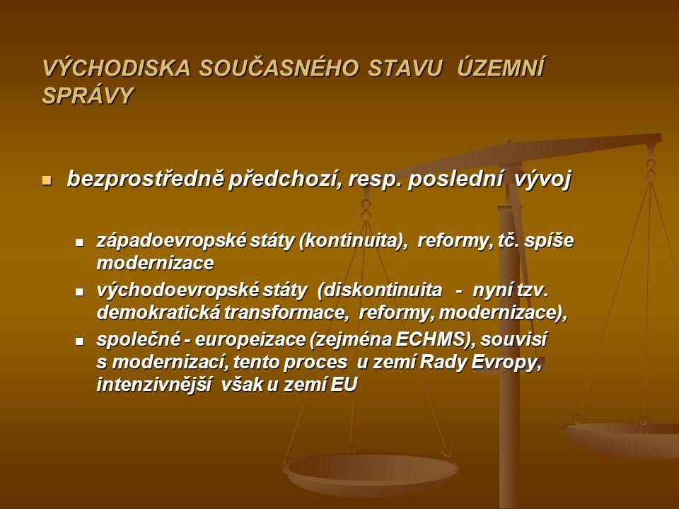 VÝCHODISKA SOUČASNÉHO STAVU ÚZEMNÍ SPRÁVY bezprostředně předchozí, resp.