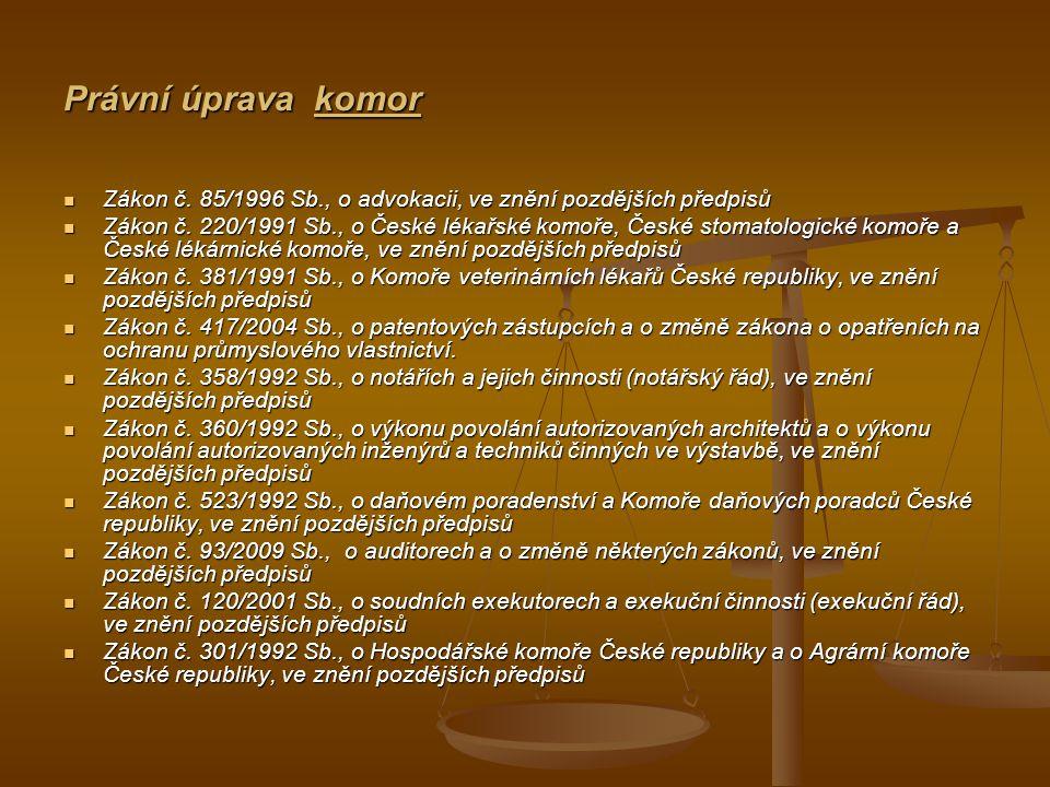 Právní úprava komor Zákon č.85/1996 Sb., o advokacii, ve znění pozdějších předpisů Zákon č.