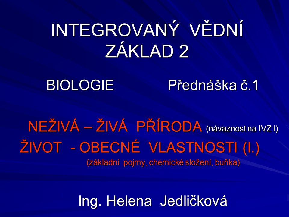 INTEGROVANÝ VĚDNÍ ZÁKLAD 2 BIOLOGIE Přednáška č.1 NEŽIVÁ – ŽIVÁ PŘÍRODA (návaznost na IVZ I) ŽIVOT - OBECNÉ VLASTNOSTI (I.) (základní pojmy, chemické