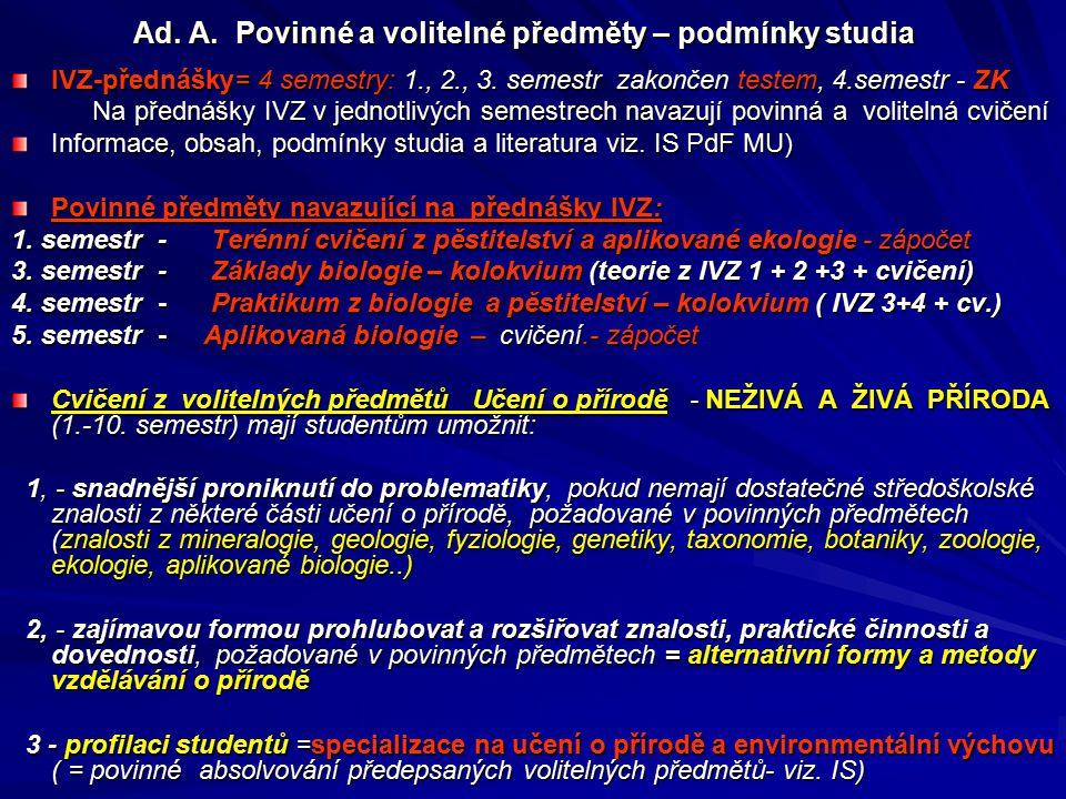 Ad. A. Povinné a volitelné předměty – podmínky studia IVZ-přednášky= 4 semestry: 1., 2., 3. semestr zakončen testem, 4.semestr - ZK Na přednášky IVZ v