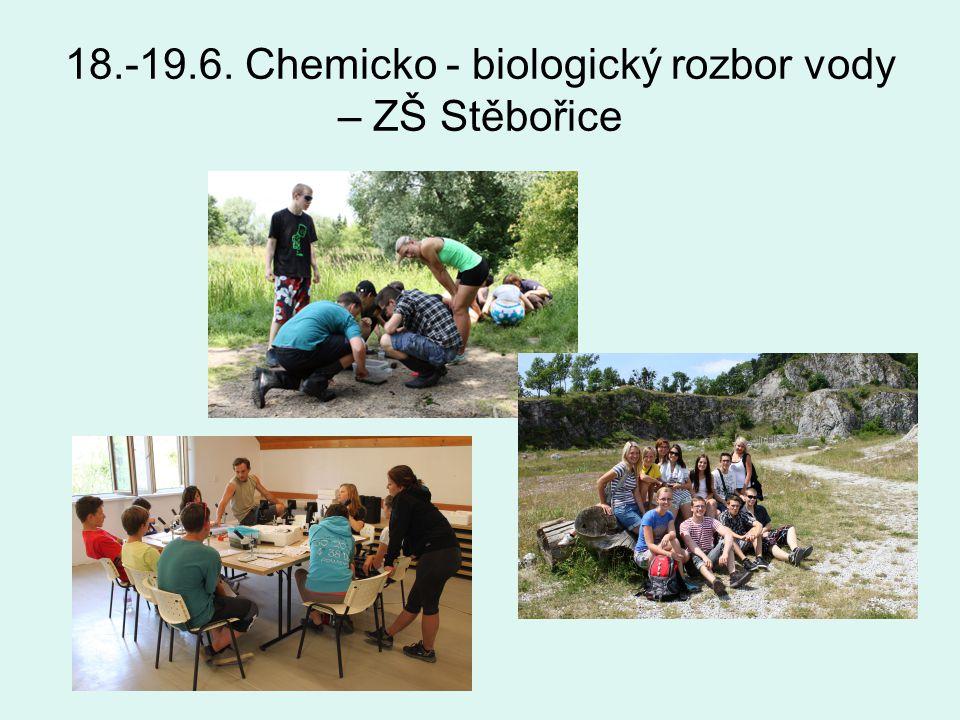 18.-19.6. Chemicko - biologický rozbor vody – ZŠ Stěbořice