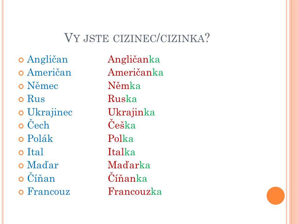 V Y JSTE CIZINEC / CIZINKA ? AngličanAngličanka AmeričanAmeričanka NěmecNěmka RusRuska UkrajinecUkrajinka Čech Češka PolákPolka ItalItalka MaďarMaďark