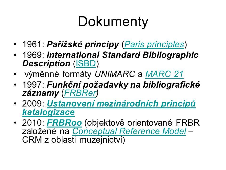 Dokumenty 1961: Pařížské principy (Paris principles)Paris principles 1969: International Standard Bibliographic Description (ISBD)ISBD výměnné formáty UNIMARC a MARC 21MARC 21 1997: Funkční požadavky na bibliografické záznamy (FRBRer)FRBRer 2009: Ustanovení mezinárodních principů katalogizaceUstanovení mezinárodních principů katalogizace 2010: FRBRoo (objektově orientované FRBR založené na Conceptual Reference Model – CRM z oblasti muzejnictví)FRBRooConceptual Reference Model
