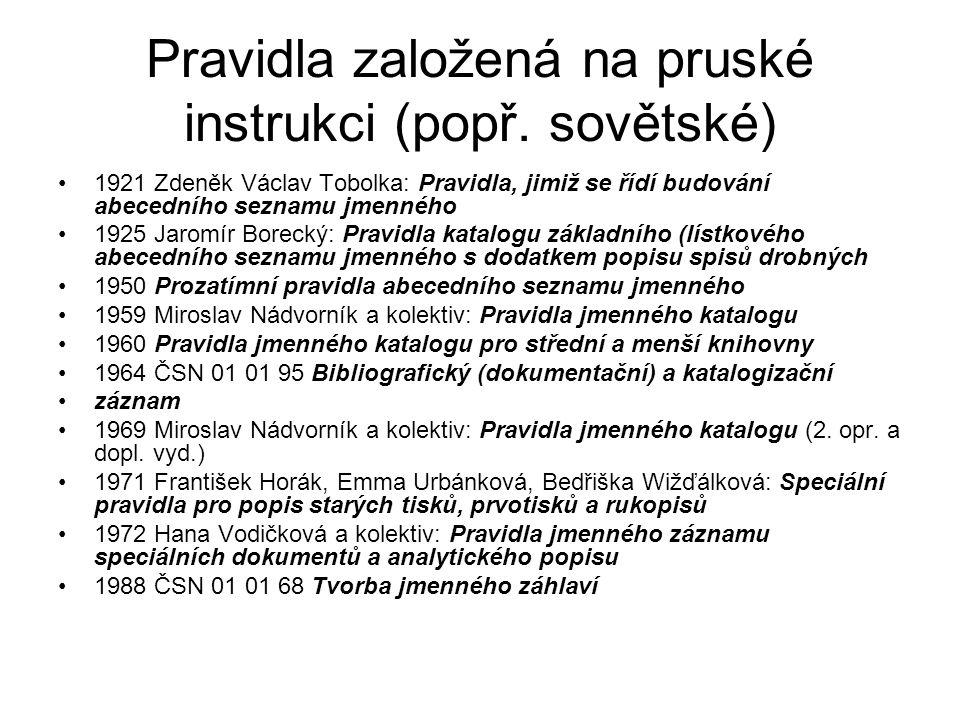 Pravidla založená na pruské instrukci (popř.
