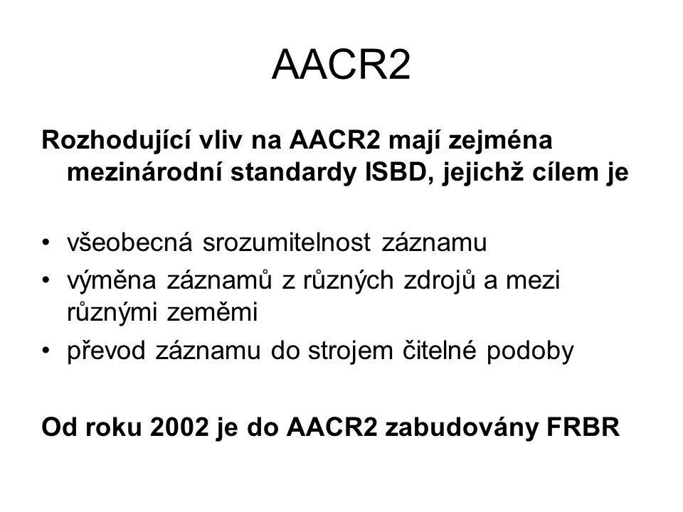 AACR2 Rozhodující vliv na AACR2 mají zejména mezinárodní standardy ISBD, jejichž cílem je všeobecná srozumitelnost záznamu výměna záznamů z různých zdrojů a mezi různými zeměmi převod záznamu do strojem čitelné podoby Od roku 2002 je do AACR2 zabudovány FRBR