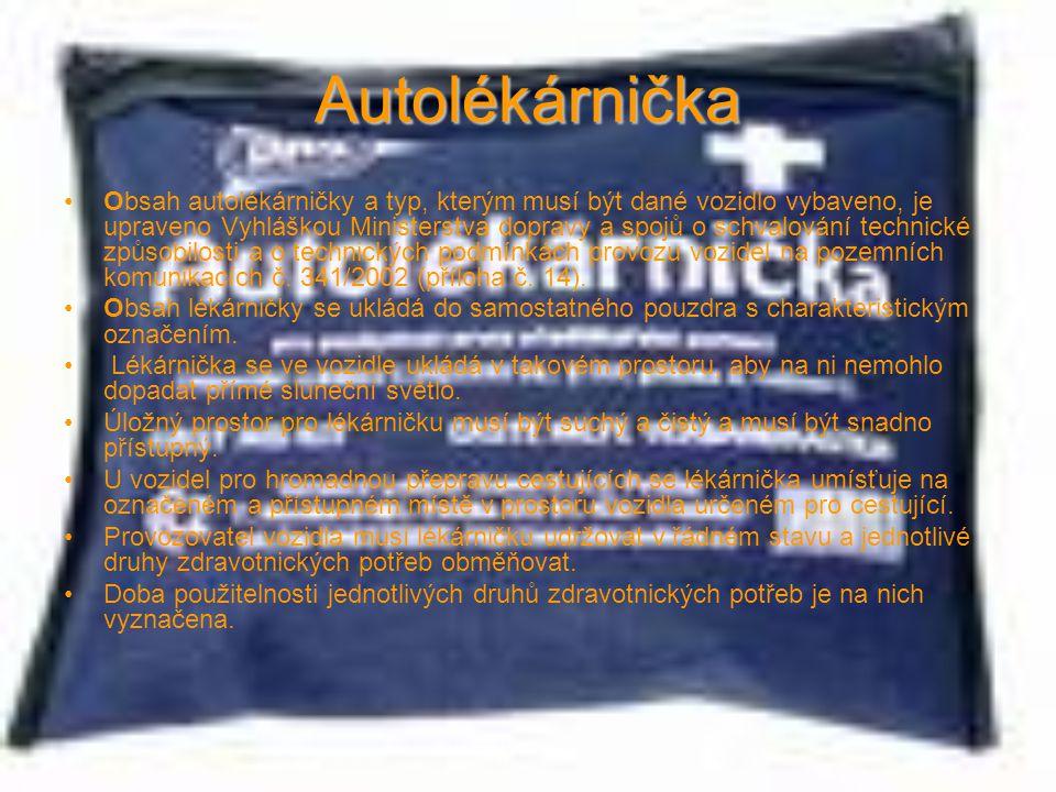 Autolékárnička Obsah autolékárničky a typ, kterým musí být dané vozidlo vybaveno, je upraveno Vyhláškou Ministerstva dopravy a spojů o schvalování tec