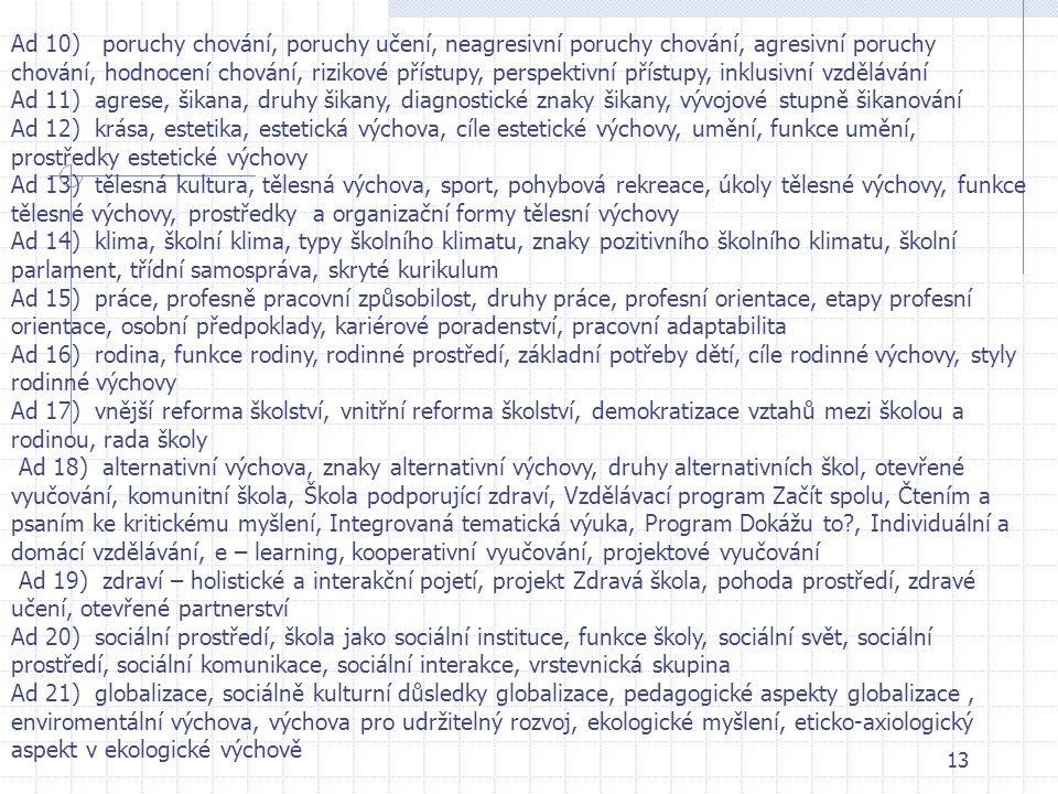 13 Ad 10) poruchy chování, poruchy učení, neagresivní poruchy chování, agresivní poruchy chování, hodnocení chování, rizikové přístupy, perspektivní p
