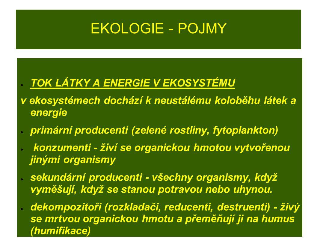 EKOLOGIE - POJMY ● TOK LÁTKY A ENERGIE V EKOSYSTÉMU v ekosystémech dochází k neustálému koloběhu látek a energie ● primární producenti (zelené rostlin