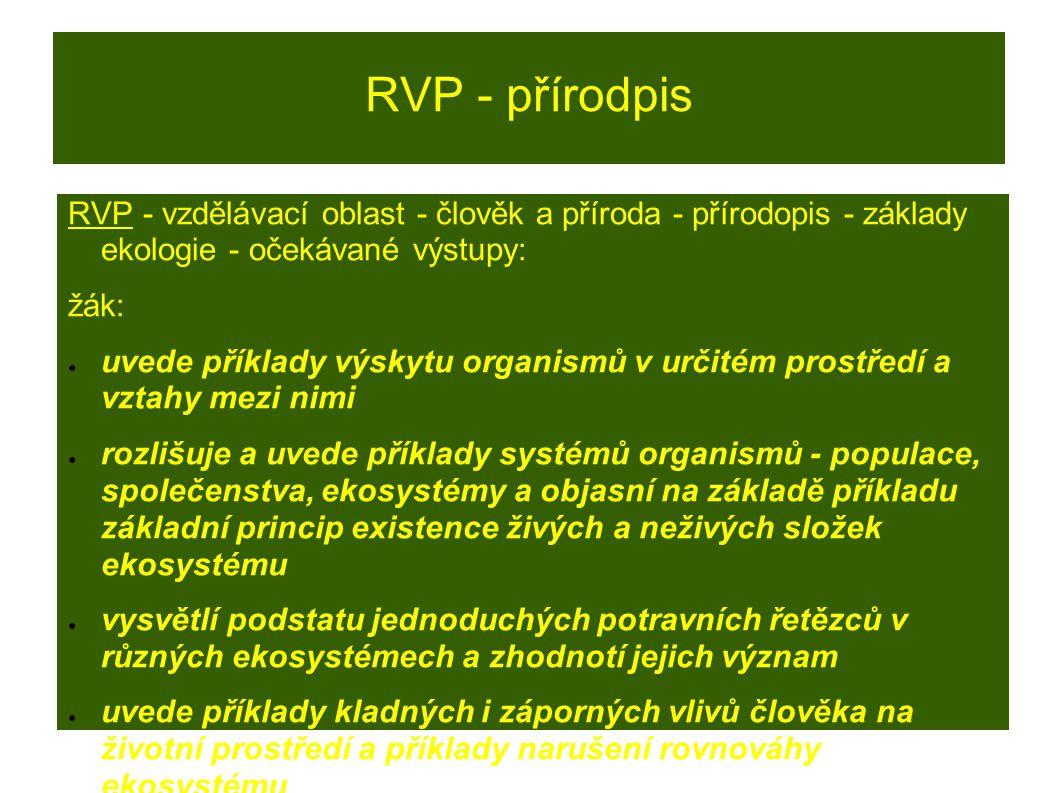 RVP - přírodpis RVP - vzdělávací oblast - člověk a příroda - přírodopis - základy ekologie - očekávané výstupy: žák: ● uvede příklady výskytu organism