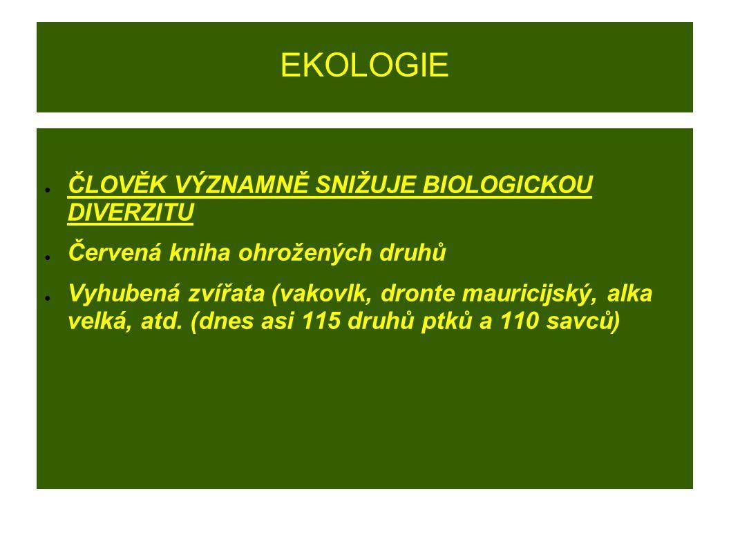 EKOLOGIE ● ČLOVĚK VÝZNAMNĚ SNIŽUJE BIOLOGICKOU DIVERZITU ● Červená kniha ohrožených druhů ● Vyhubená zvířata (vakovlk, dronte mauricijský, alka velká,