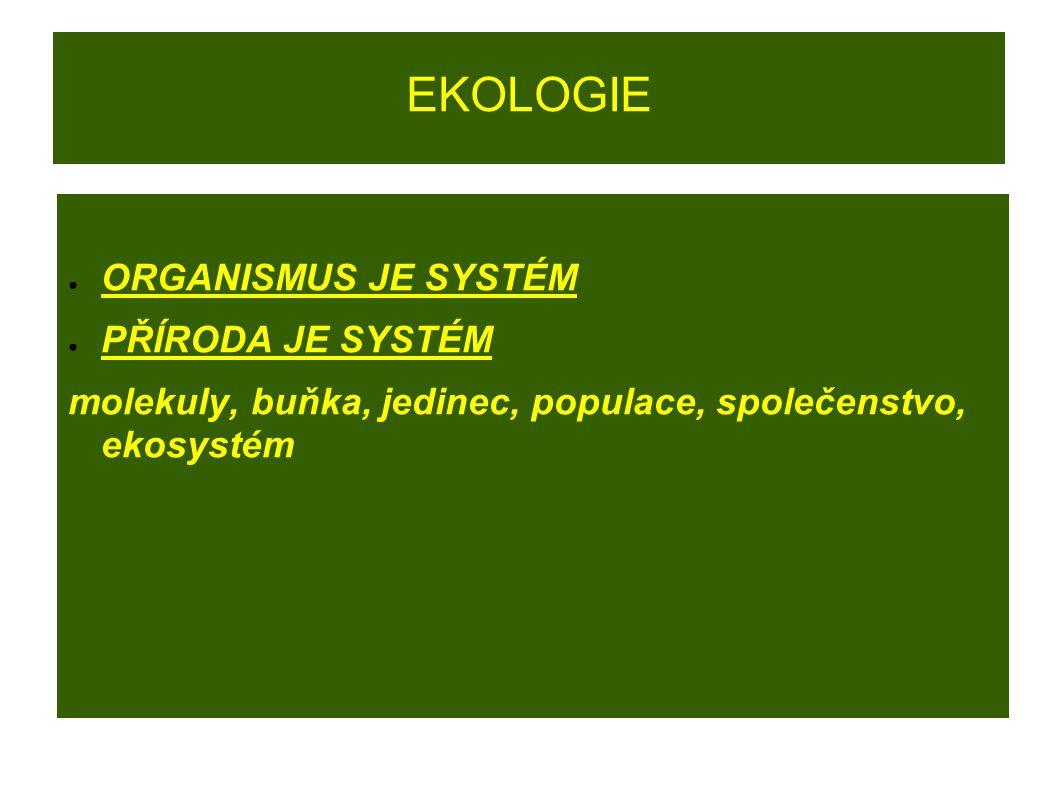 EKOLOGIE ● ORGANISMUS JE SYSTÉM ● PŘÍRODA JE SYSTÉM molekuly, buňka, jedinec, populace, společenstvo, ekosystém