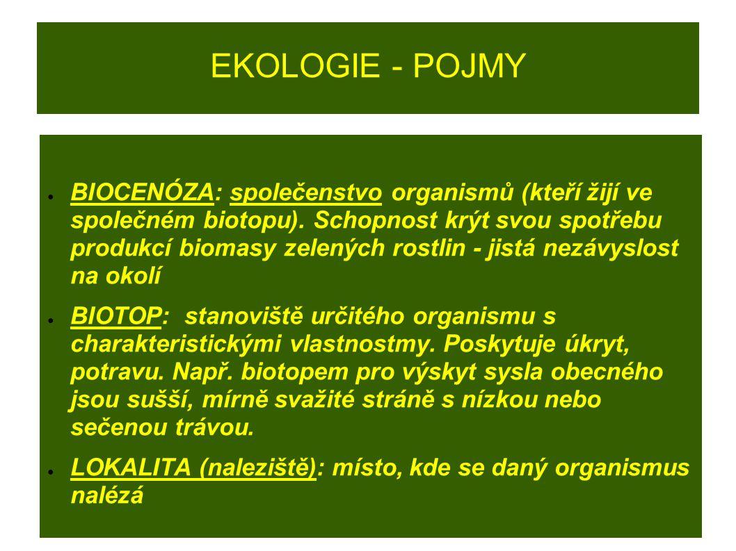 EKOLOGIE - POJMY ● BIOCENÓZA: společenstvo organismů (kteří žijí ve společném biotopu). Schopnost krýt svou spotřebu produkcí biomasy zelených rostlin
