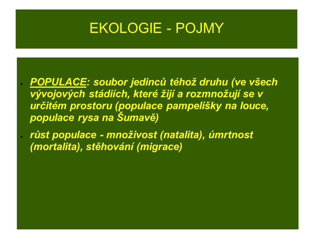 EKOLOGIE - POJMY ● POPULACE: soubor jedinců téhož druhu (ve všech vývojových stádiích, které žijí a rozmnožují se v určitém prostoru (populace pampeli