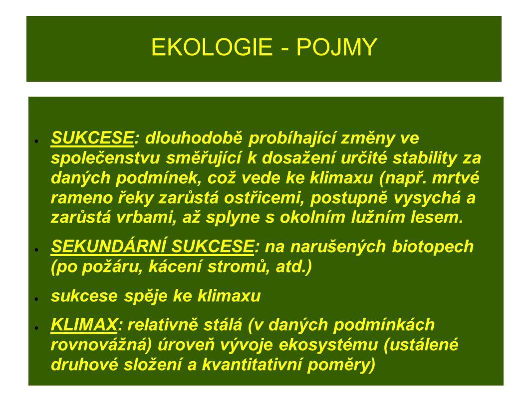 EKOLOGIE - POJMY ● DRUHOVÁ PESTROST: pouze stabilní společenstvo je schopné odolávat změnám podmínek biotopu.
