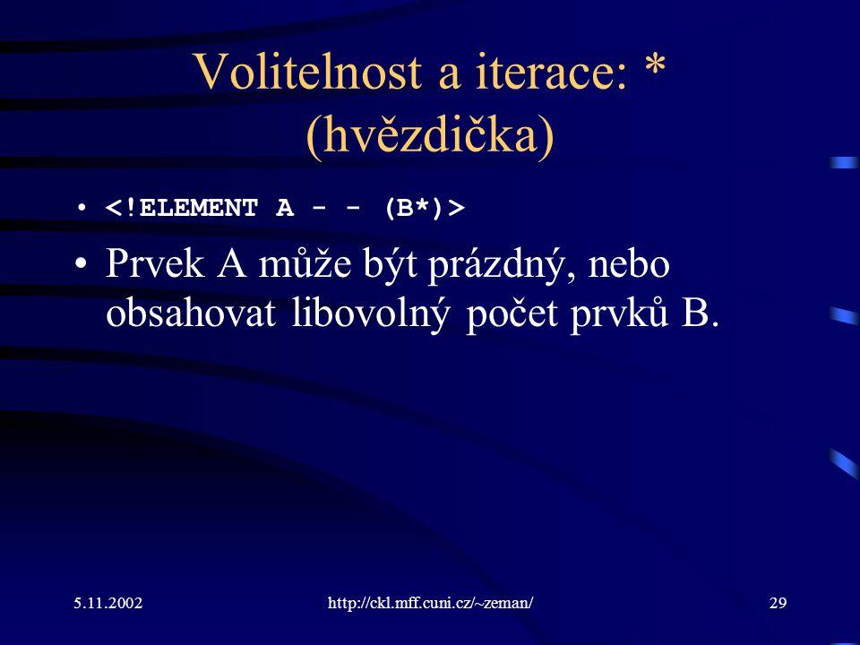 5.11.2002http://ckl.mff.cuni.cz/~zeman/29 Volitelnost a iterace: * (hvězdička) Prvek A může být prázdný, nebo obsahovat libovolný počet prvků B.