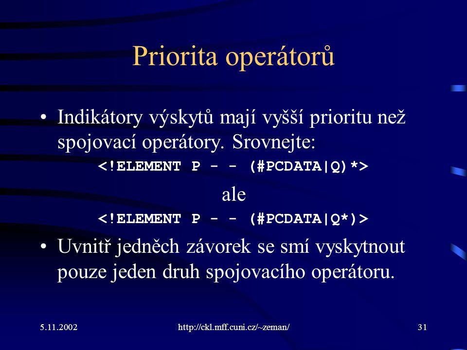 5.11.2002http://ckl.mff.cuni.cz/~zeman/31 Priorita operátorů Indikátory výskytů mají vyšší prioritu než spojovací operátory.