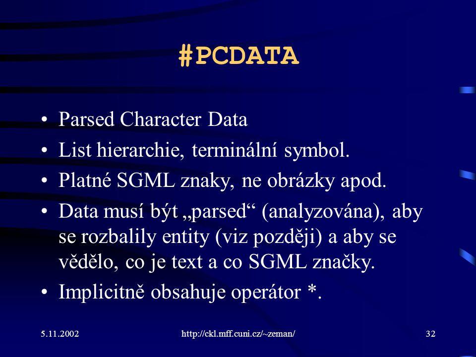 5.11.2002http://ckl.mff.cuni.cz/~zeman/32 #PCDATA Parsed Character Data List hierarchie, terminální symbol.
