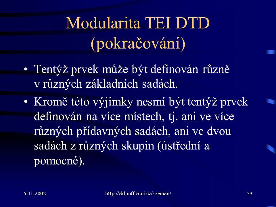 5.11.2002http://ckl.mff.cuni.cz/~zeman/53 Modularita TEI DTD (pokračování) Tentýž prvek může být definován různě v různých základních sadách.