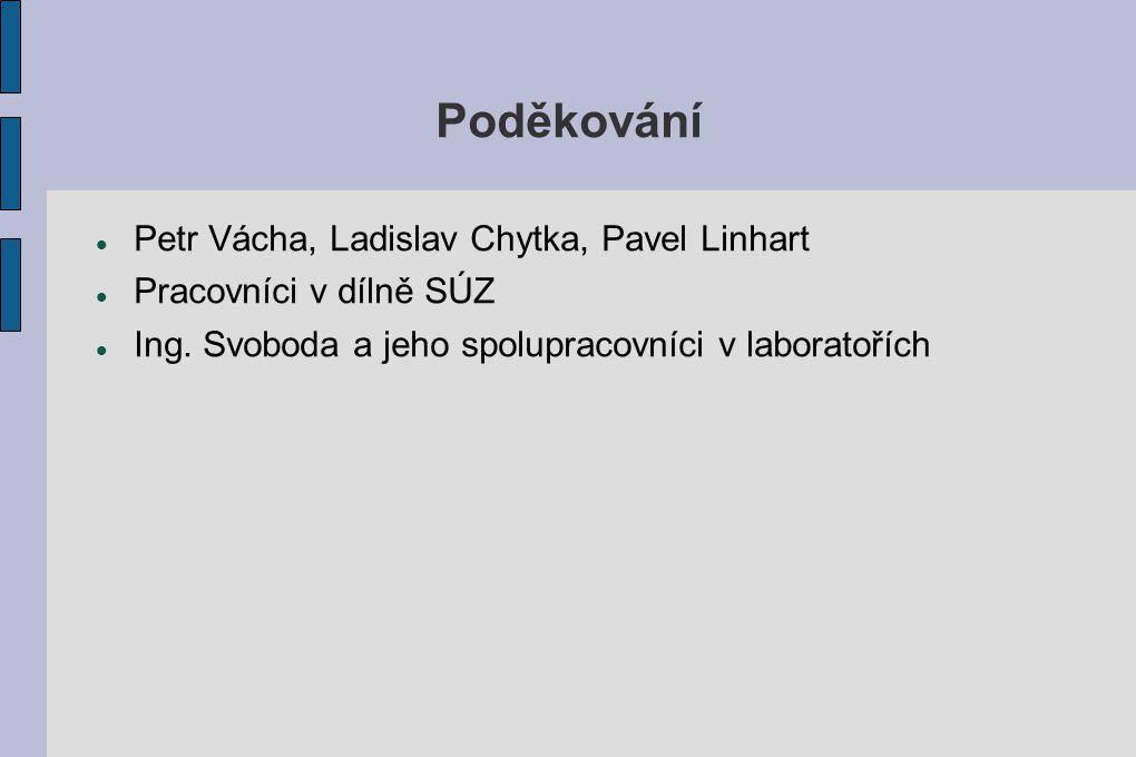 Poděkování Petr Vácha, Ladislav Chytka, Pavel Linhart Pracovníci v dílně SÚZ Ing. Svoboda a jeho spolupracovníci v laboratořích