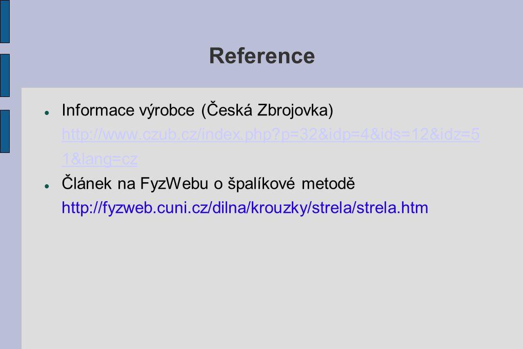 Reference Informace výrobce (Česká Zbrojovka) http://www.czub.cz/index.php?p=32&idp=4&ids=12&idz=5 1&lang=cz http://www.czub.cz/index.php?p=32&idp=4&i