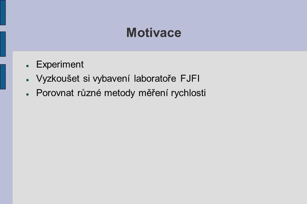 Motivace Experiment Vyzkoušet si vybavení laboratoře FJFI Porovnat různé metody měření rychlosti